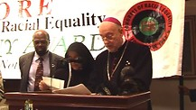 Bishop Jean Marie, Founder of Fraternite Notre Dame & FNDTV, receives the Martin Luther King CORE aw